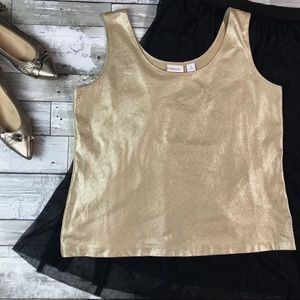 CHICO'S Travellers Collection Shimmer Tank Gold L